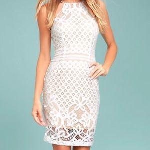 White backless lace dress